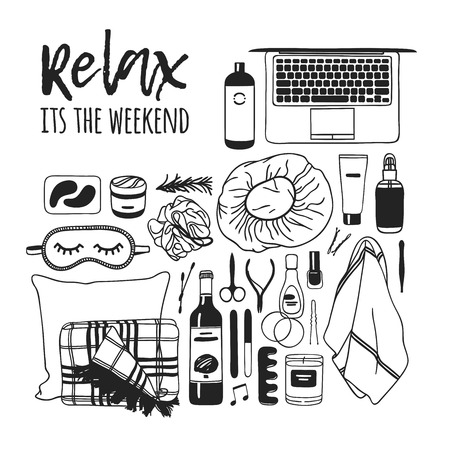 Hand drawn illustration relax set. Actual vector drawing weekend tools