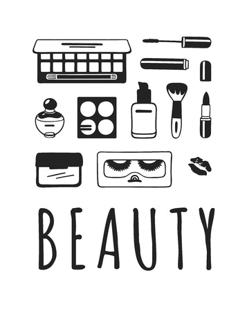 Hand drawn illustration beauty products . Actual vector makeup drawing Ilustração