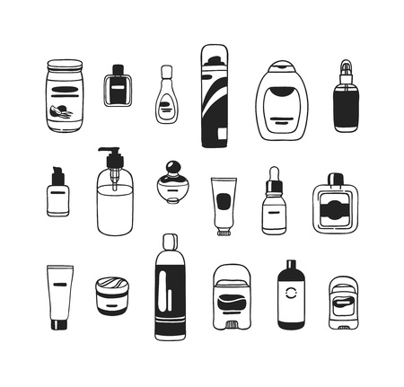 Hand drawn illustration cosmetics set . Actual vector drawing beauty products