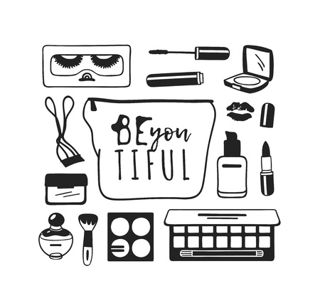 Hand drawn illustration beauty products . Actual vector makeup drawing Illustration