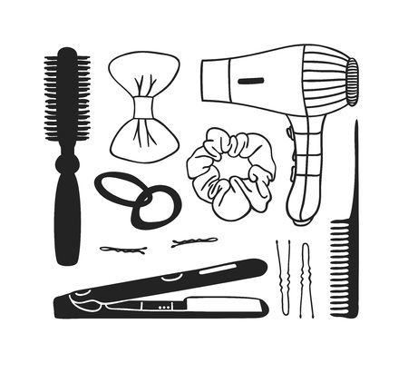 Hand drawn illustration hair tools . Actual vector drawing comb. hair dryer, barrette