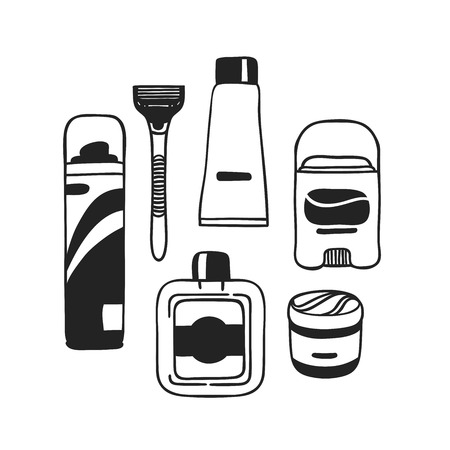 Hand drawn illustration tools for shaving. Actual vector male drawing