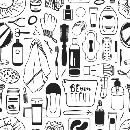 Hand drawn seamless pattern with cosmetics. Actual vector drawing background with beauty products