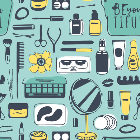 Hand drawn seamless pattern with cosmetics. Actual vector drawing background with beauty products Stock fotó - 95808250