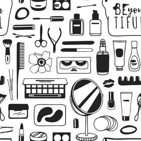 Hand drawn seamless pattern with cosmetics. Actual vector drawing background with beauty products Standard-Bild - 95808249