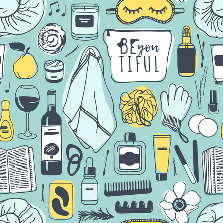 Hand drawn relax seamless pattern. Actual vector drawing background with beauty products, wine, food, book Illustration