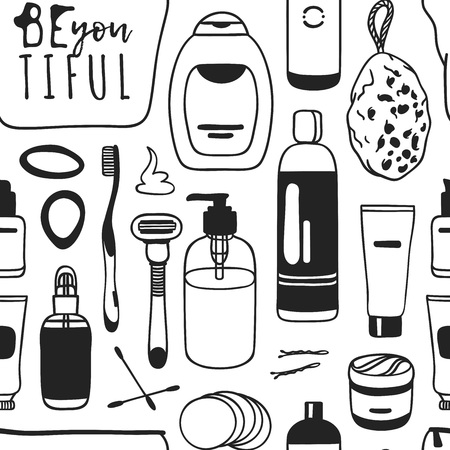 Hand drawn female seamless pattern with cosmetics. Actual vector drawing background with beauty products
