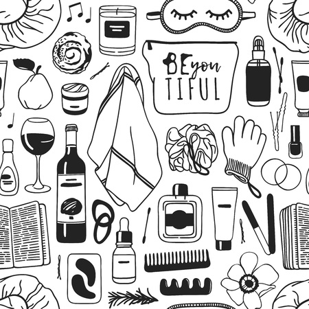 Hand drawn relax seamless pattern. Actual vector drawing background with beauty products. Illustration