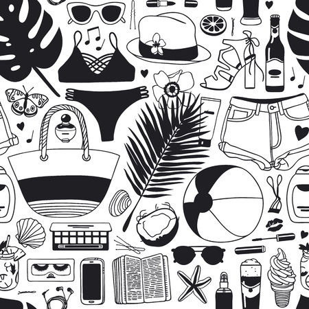 Hand drawn summer seamless pattern, tropical vector background. Artistic doddle drawing creative ink art work. Fashion illustration season objects.