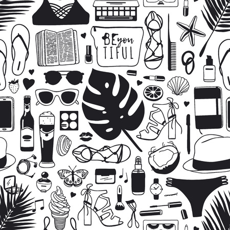 Hand drawn summer seamless pattern tropical vector background. Artistic doddle drawing creative ink art work. Fashion illustration season objects.