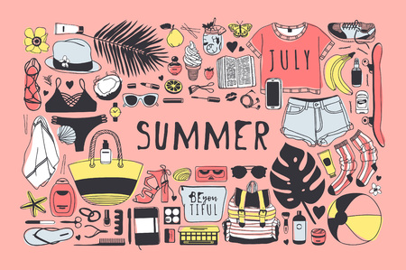 Hand drawn summer pattern. Tropical vector background. Artistic doddle drawing. Creative ink art work. Fashion illustration season objects