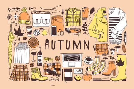 Hand drawn autumn pattern fall vector background. Artistic doddle drawing creative ink art work. Fashion illustration season objects. Çizim