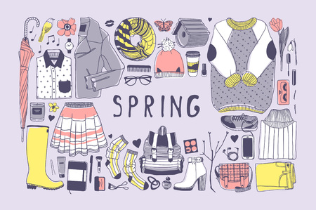 Hand drawn spring pattern. Cute vector background. Artistic doddle drawing. Creative ink art work. Fashion illustration season objects Illusztráció