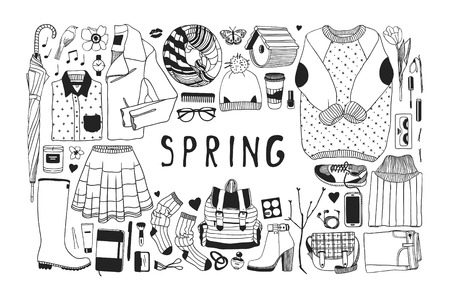 Hand drawn spring pattern. Cute vector background. Artistic doddle drawing. Creative ink art work. Fashion illustration season objects Ilustracja
