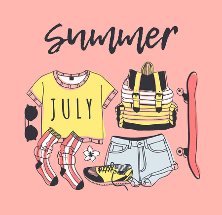 Pink summer poster with clothing objects and skateboard Ilustracja