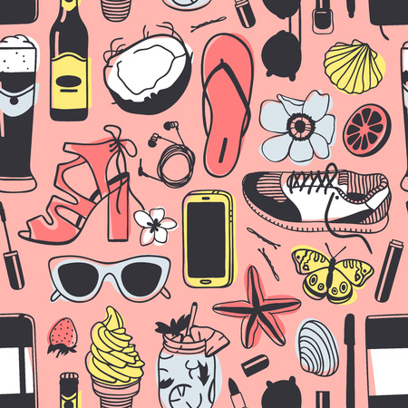 Pink background with illustrations of footwear, beer, flowers, phone and beach items 일러스트