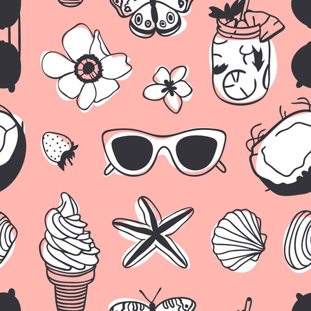 Pink background with ice-cream, star, glasses and flowers