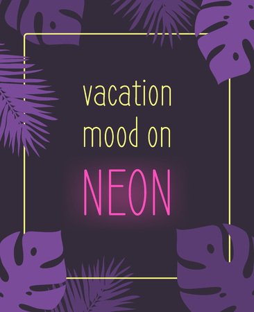 Purple background with a neon quote and palm leaf illustration.