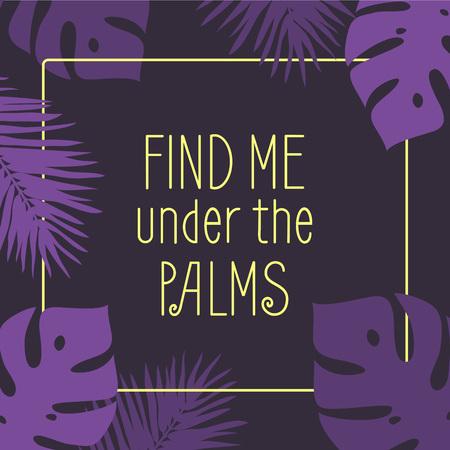 黄色の引用と手のひらの葉のイラストと紫の背景。