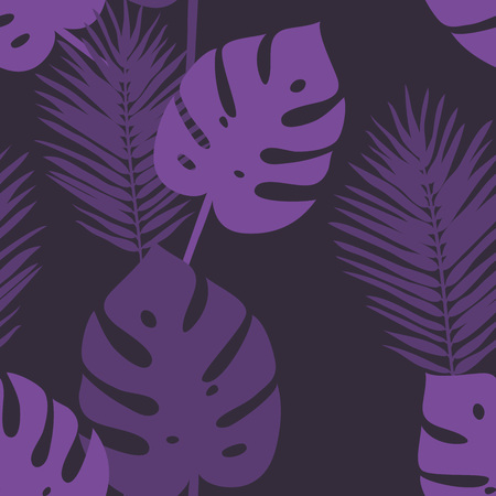 Purple seamless pattern with palm leaves.