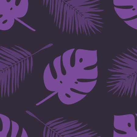 ヤシの葉と紫色のシームレスなパターン。  イラスト・ベクター素材