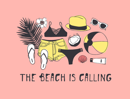 Beach is calling quote and beach items illustration on a pink background
