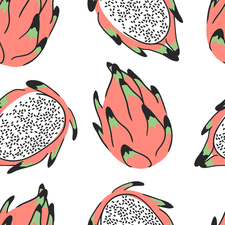 Hand drawn set of tropical fruit and text. Vector artistic seamless pattern with food. Summer illustration pitaya Stock Vector - 103009873