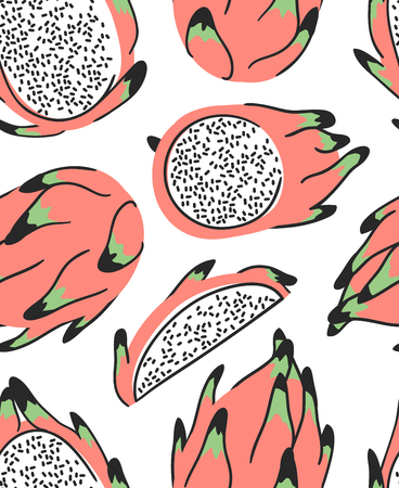 Hand drawn set of tropical fruit and text. Vector artistic seamless pattern with food. Summer illustration pitaya
