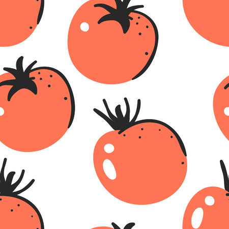 Hand drawn seamless pattern with vegetable. Vector artistic drawing food. Summer illustration tomato
