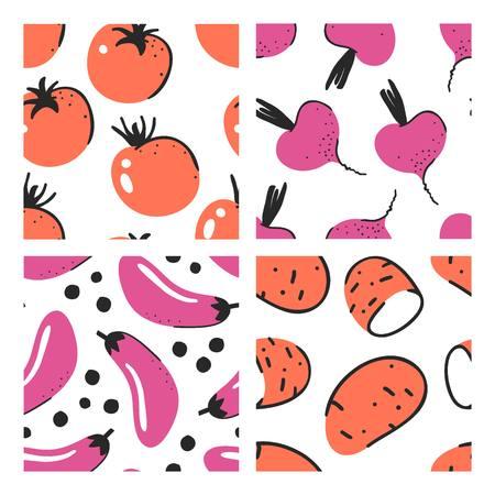Set of hand drawn seamless pattern with vegetables. Vector artistic tomato, beet, eggplant, potato. Summer illustration vegeterian food Illustration