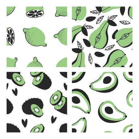 Set of hand drawn seamless pattern with tropical fruits. Vector artistic lime, pear, kiwi, avocado. Summer illustration vegeterian food Çizim