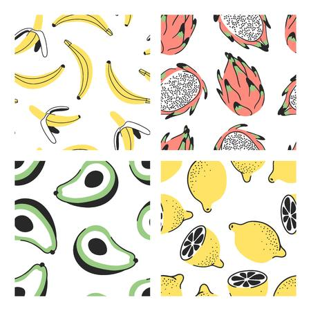 Set of hand drawn seamless pattern with tropical fruits. Vector artistic banana, pitaya or pitahaya, avocado and lemon. Summer illustration dragon fruit and other vegeterian food
