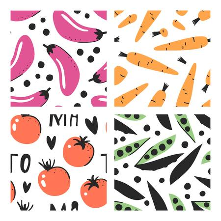 Set of hand drawn seamless pattern with vegetables. Vector artistic eggplant, carrot, tomato and green peas. Summer illustration vegeterian food