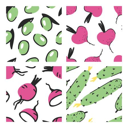 Set of hand drawn seamless pattern with vegetables. Vector artistic olive, beet, radish and cucumber. Summer illustration vegeterian food