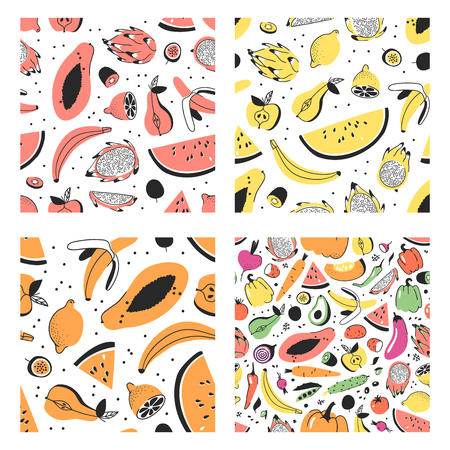 Set of hand drawn set of tropical fruits. Vector seamless pattern with food. Summer illustration watermelon, banana, papaya, pitaya, pear, apple, lemon, passion fruit and kiwi Illustration