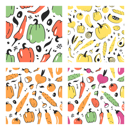 Set of hand drawn seamless pattern with vegetable. Vector artistic drawing food. Summer illustration pumpkin, potato, pepper, green peas, beetroot, eggplant, tomato, cucumber, avocado, carrot Illustration