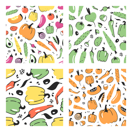 Set of hand drawn seamless pattern with vegetable. Vector artistic drawing food. Summer illustration pumpkin, potato, pepper, green peas, beetroot, eggplant, tomato, cucumber, avocado, carrot 向量圖像