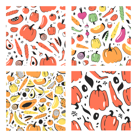 Set of hand drawn seamless pattern with vegetable. Vector drawing food. Summer illustration 일러스트