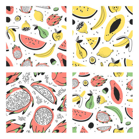 Set of hand drawn seamless pattern with vegetable. Vector drawing food. Summer illustration Illusztráció