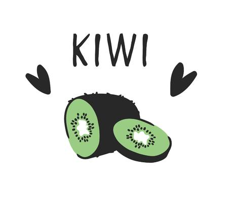 Hand drawn set of tropical fruit and text. Vector artistic drawing food. Summer illustration kiwi