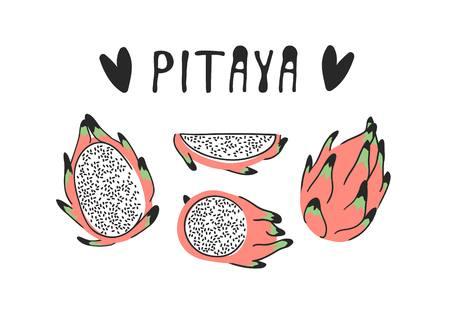 Hand drawn set of tropical fruit and text. Vector artistic drawing food. Summer illustration pitaya Illustration