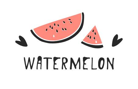 Hand drawn set of tropical fruit and text. Vector artistic drawing food. Summer illustration watermelon Illustration