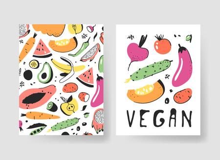 Hand drawn set of cards with fruits and vegetables. Vector illustration food. Vegan drawing papaya, pumpkin, cucumber, beetroot, tomato, potato, eggplant Illustration