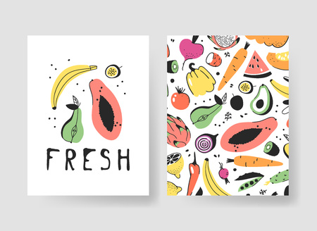 Hand drawn set of cards with fruits and vegetables. Vector illustration food. Vegan drawing 向量圖像