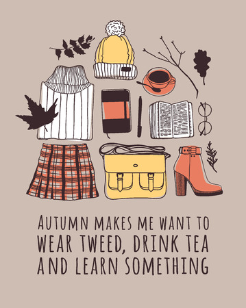 Hand drawn Autumn illustration and lettering. Creative ink season art work with text AUTUMN MAKES ME WANT TO WEAR TWEED, DRINK TEA AND LEARN SOMETHING. Actual vector quote about Fall Çizim