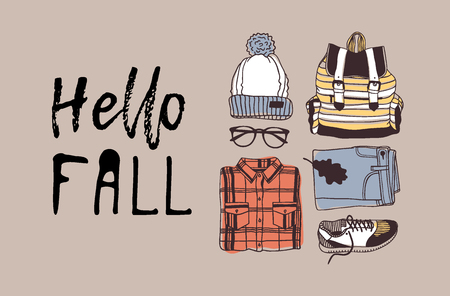 Hand drawn Autumn illustration and lettering. Creative ink season art work with text HELLO FALL. Actual vector quote about Fall