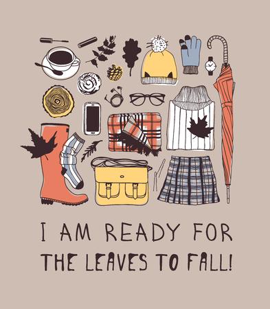 Illustration et lettrage d'automne dessinés à la main. Oeuvre d'art créative de saison d'encre avec le texte JE SUIS PRÊT POUR LES FEUILLES À TOMBER. Citation de vecteur réel sur l'automne