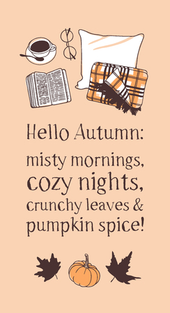 Hand drawn Autumn illustration and lettering. Creative ink season art work with text HELLO AUTUMN. Actual vector quote about Fall