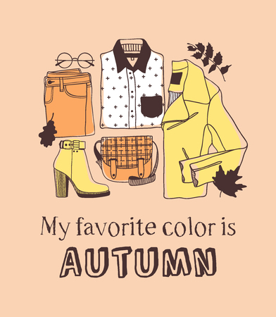 Hand drawn Autumn illustration and lettering. MY FAVORITE COLOR IS AUTUMN. Actual vector quote about Fall Illustration
