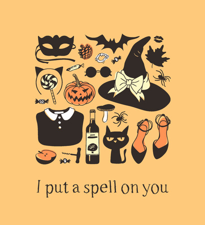 Hand drawn illustration Outfit Woman and Quote. Creative ink art work. Actual vector drawing Season Wear. Artistic isolated Halloween look and text: I put a spell on you
